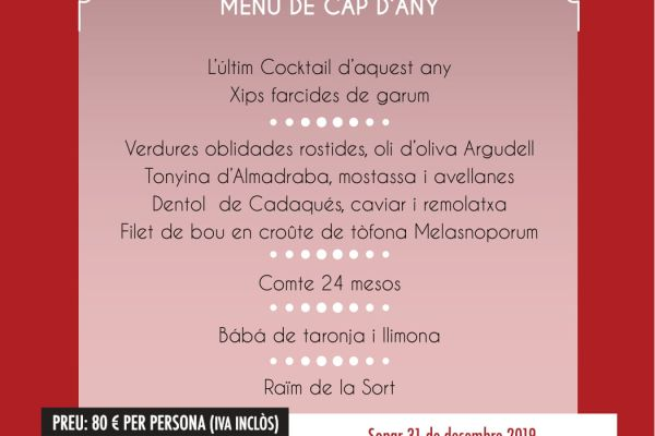 menu de cap d'any 2019 el motel